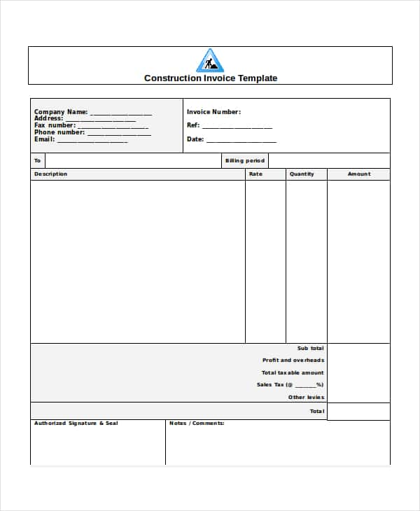Construction Invoice Template Free Download And Free Construction Bill Of Materials Template