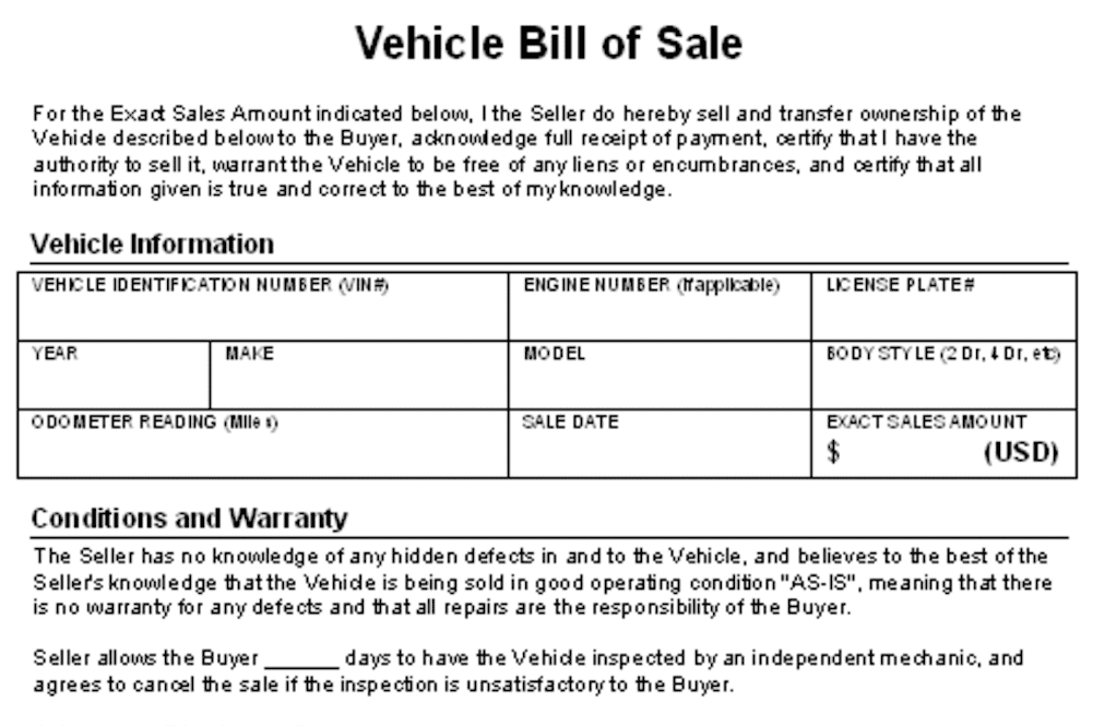 Dealer Bill Of Sale Template And Simple Bill Of Sale