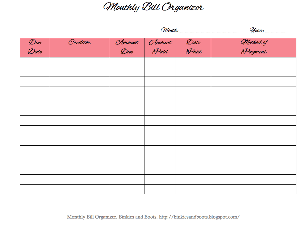 Free Bill Organizer Template Excel And Free Printable Payment Log