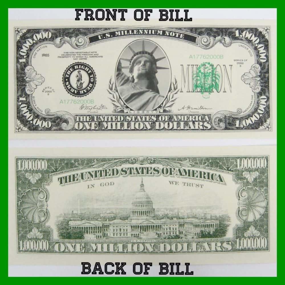 Million Dollar Bill Template And One Million Dollar Bill Printable