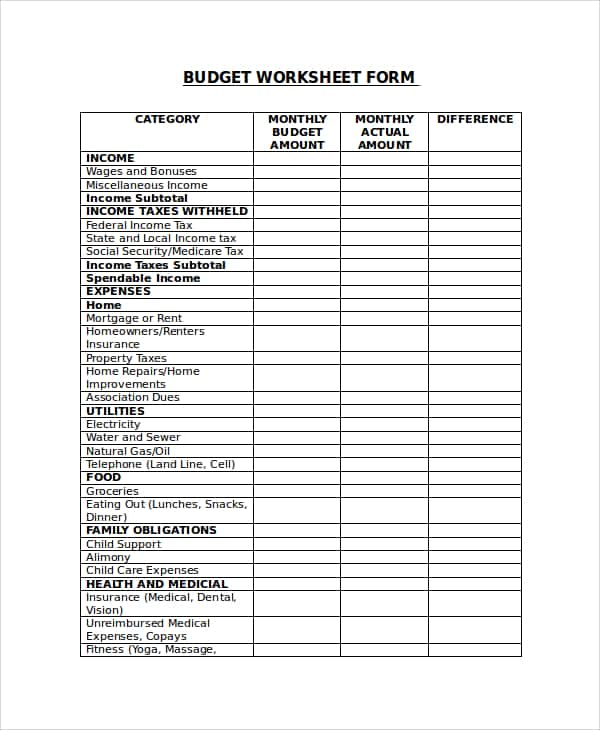 Monthly Budget Worksheet Excel And Daily Personal Budget Worksheets