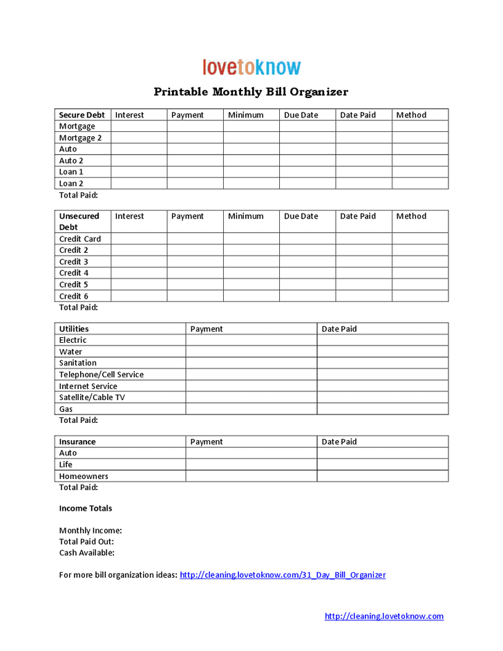 Printable Monthly Bill Organizer Download And Free Budget Excel Spreadsheet Monthly