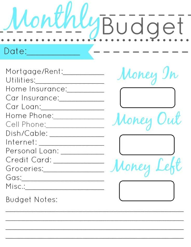 Simple Budget Worksheet And Budget Financial Worksheet