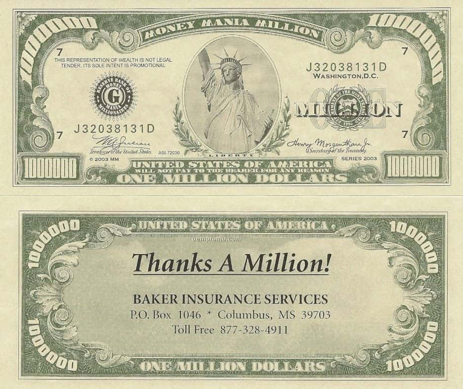 Template For Million Dollar Bill And Free Printable Million Dollar Bills