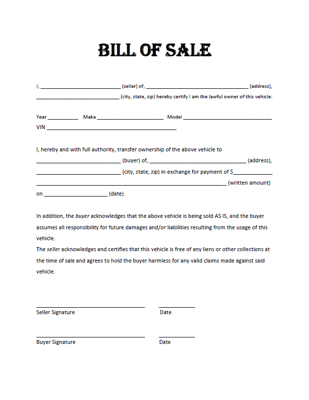 Arkansas Auto Bill Of Sale Template And Georgia Auto Bill Of Sale Template