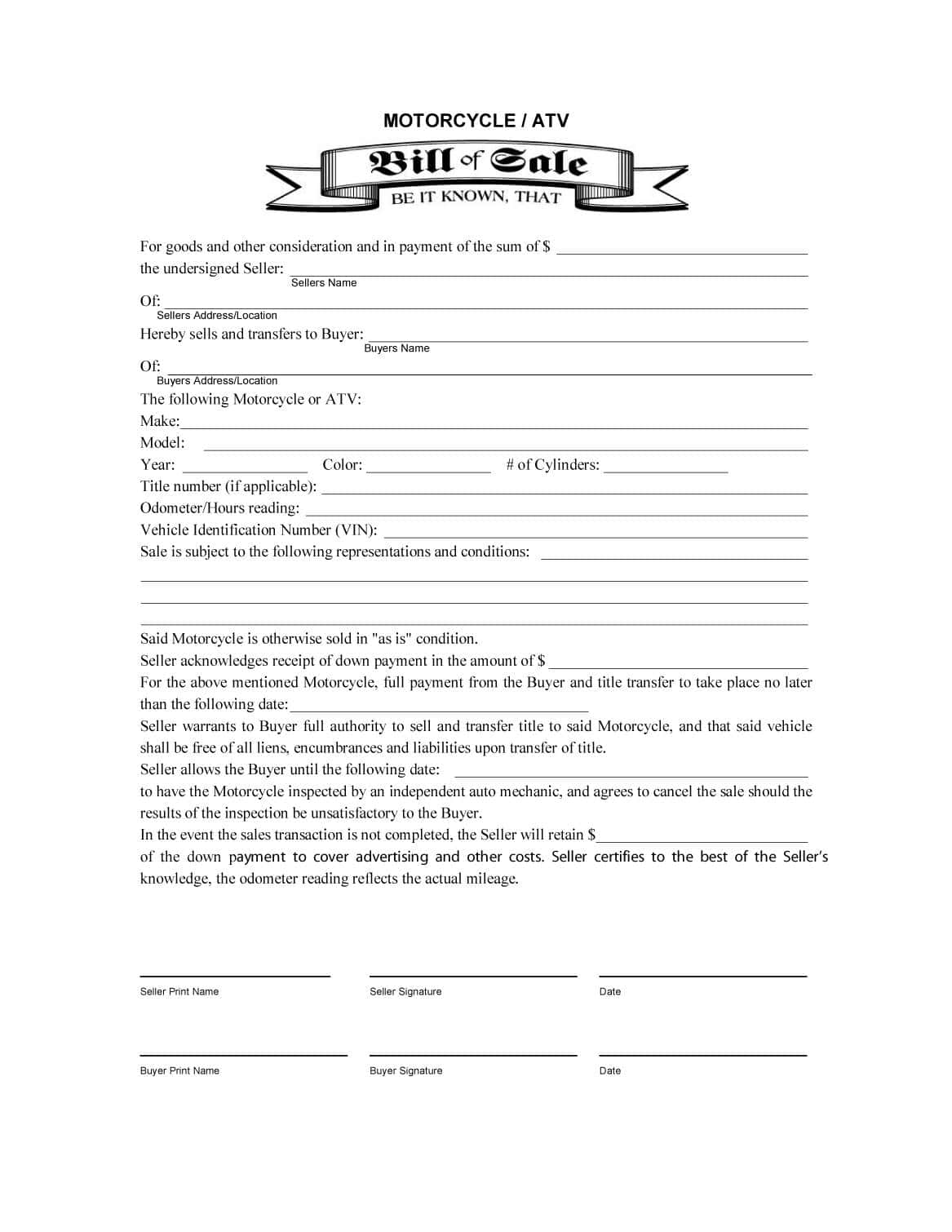 Bill Of Sale Purchase Agreement Template And Car Bill Of Sale Template Doc