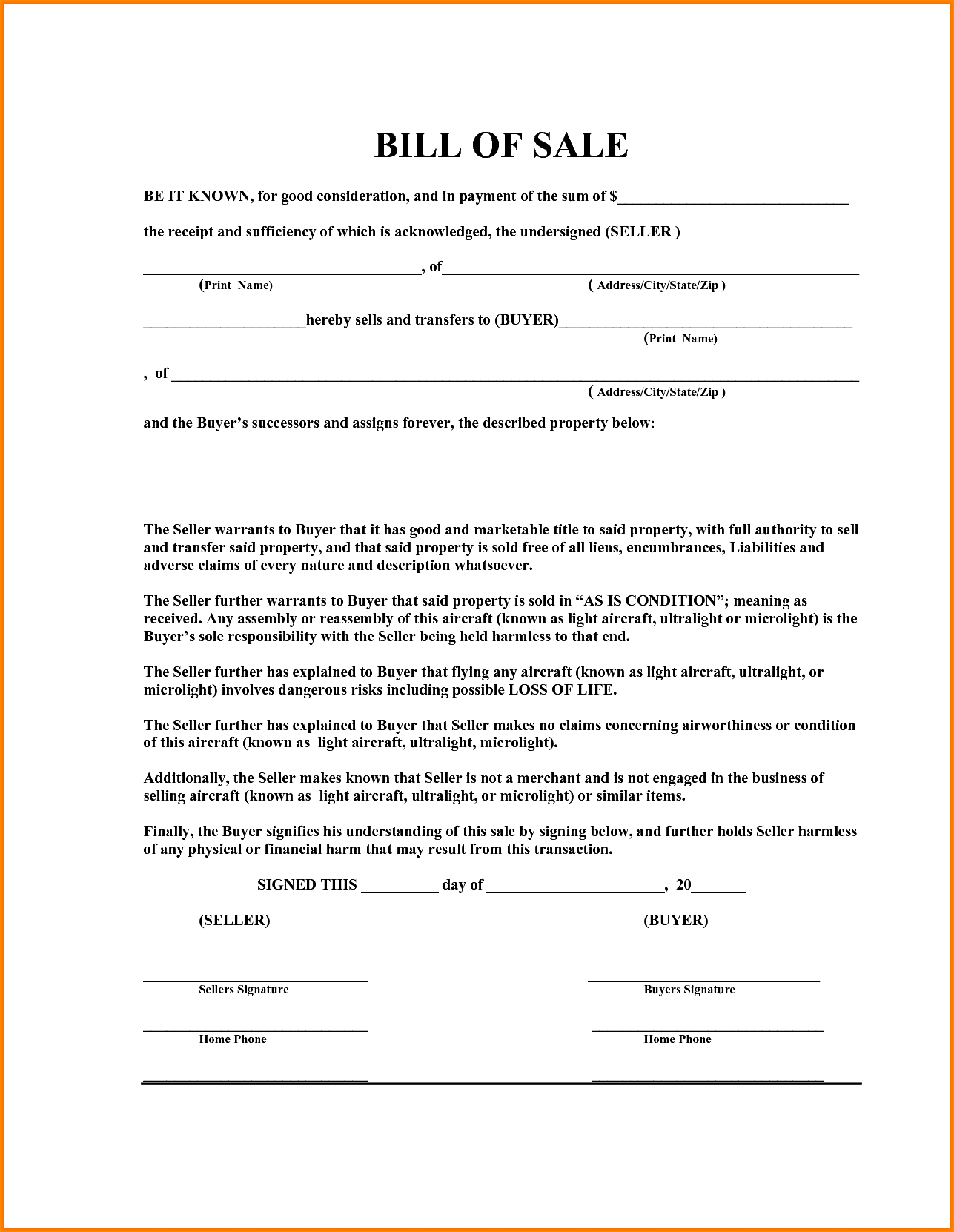 Bill Of Sale Template For Boat Motor And Trailer And Boat Bill Of Sale Template Alberta