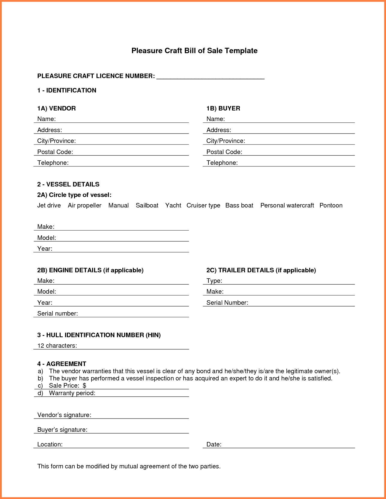 Boat Bill Of Sale Template Word And Bill Of Sale Template Boat Canada