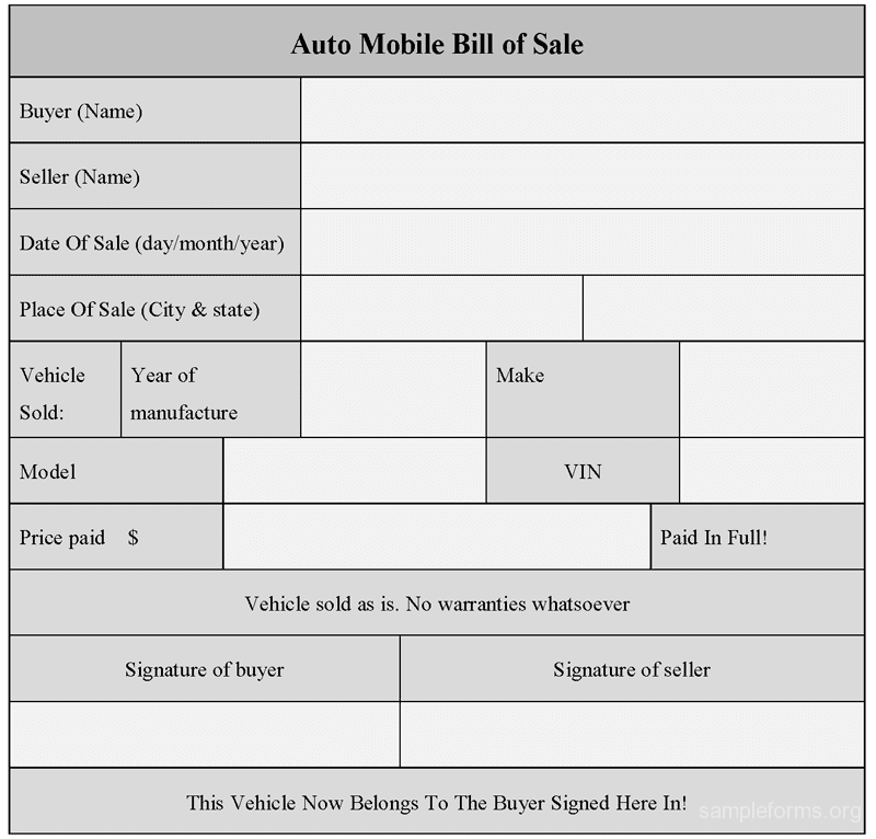 Car Bill Of Sale Example Template And Auto Bill Of Sale Template Doc