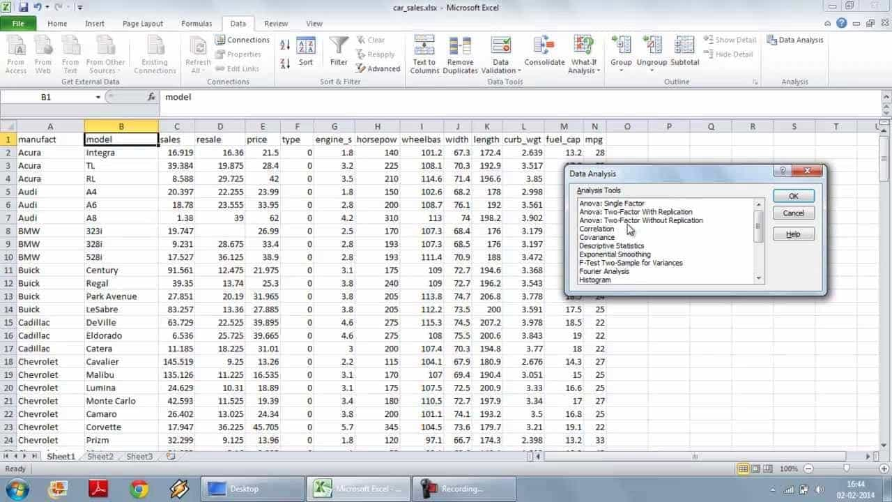 Excel Statistical Data Analysis Example And Excel Data Analysis Course