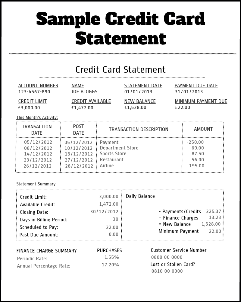 Fake Credit Card Bill Template And Bank Of America Credit Card Statement Template
