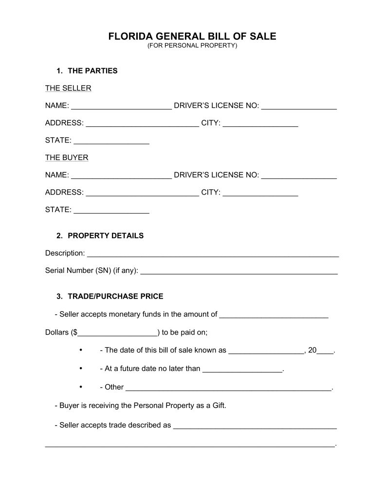 Florida Motor Vehicle Bill Of Sale Template And Trailer Bill Of Sale Template Florida