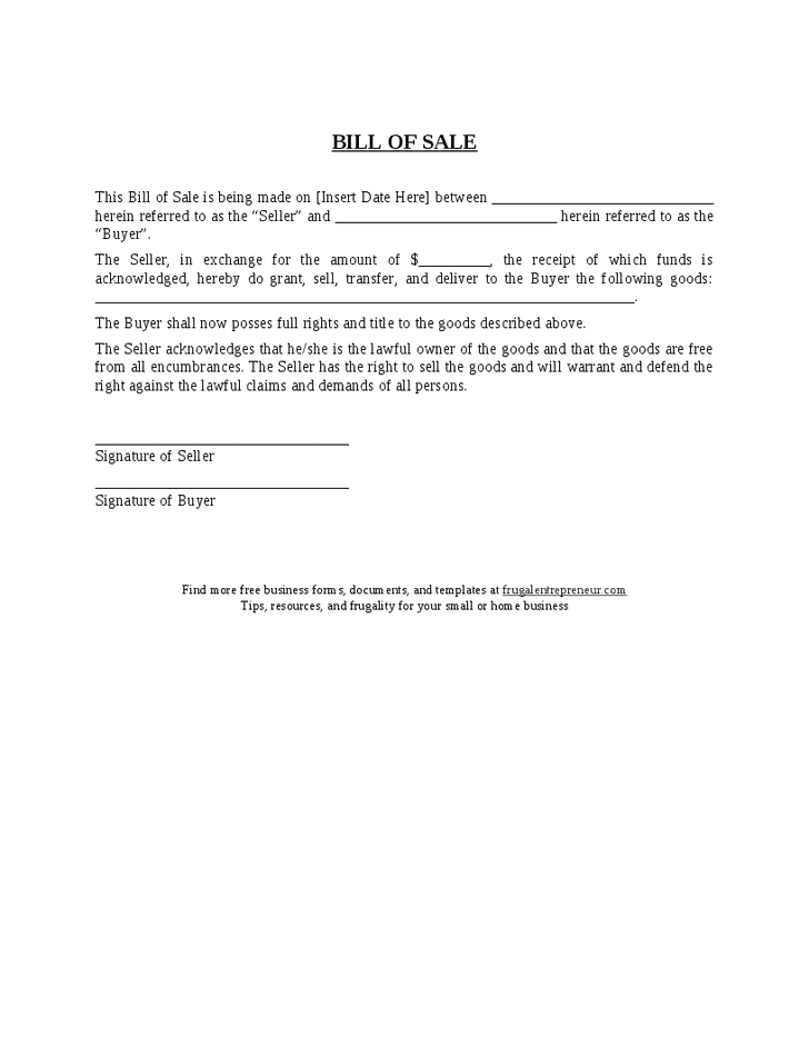 General Bill Of Sale For Car And Editable Bill Of Sale