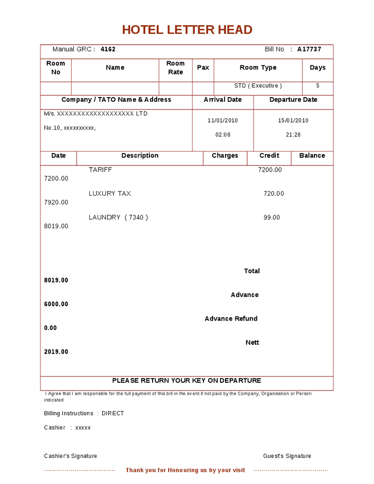 Hotel Direct Bill Application Template And Hotel Bill Receipt Template