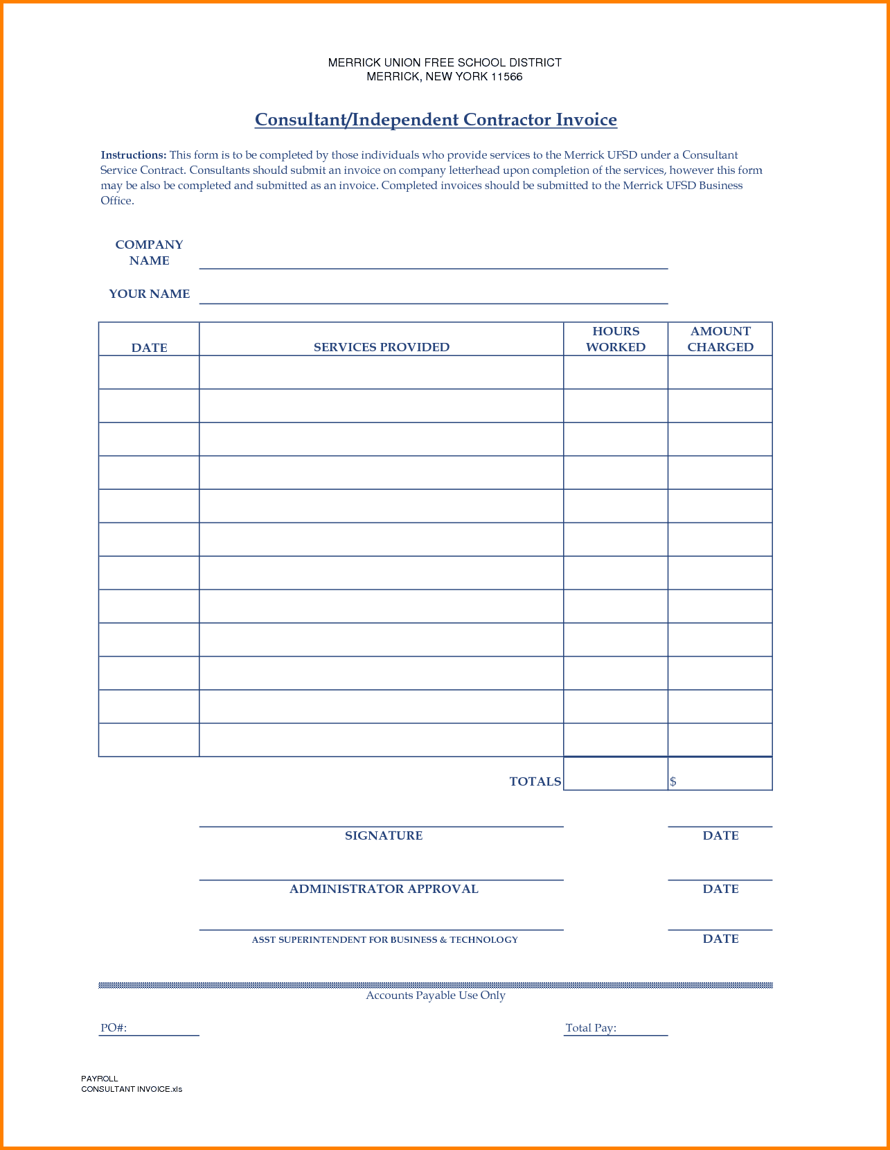 Labour Contractor Invoice Format In Excel And Contractors Invoice Template Free