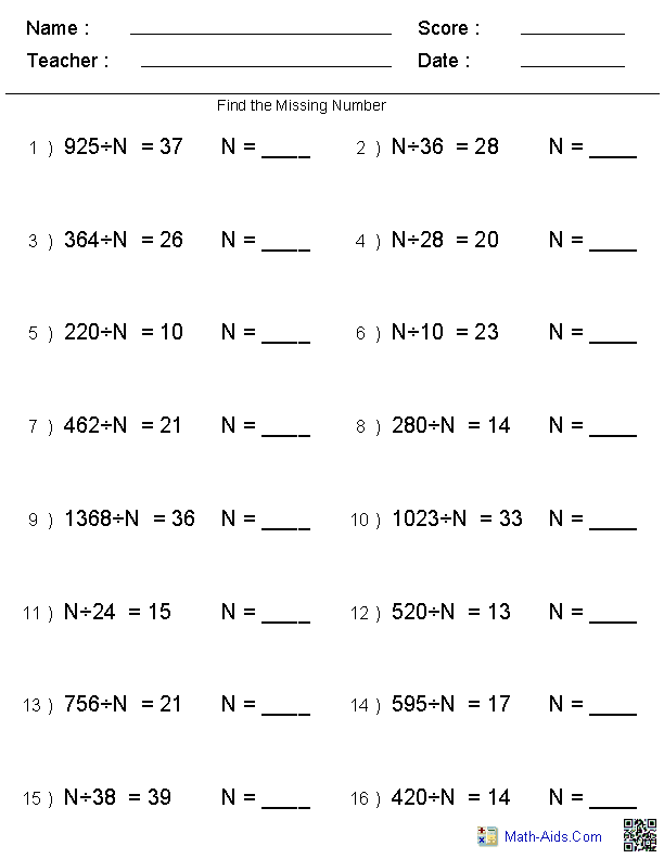 Math Worksheets For Grade 4 With Answers And Math Quiz Printable