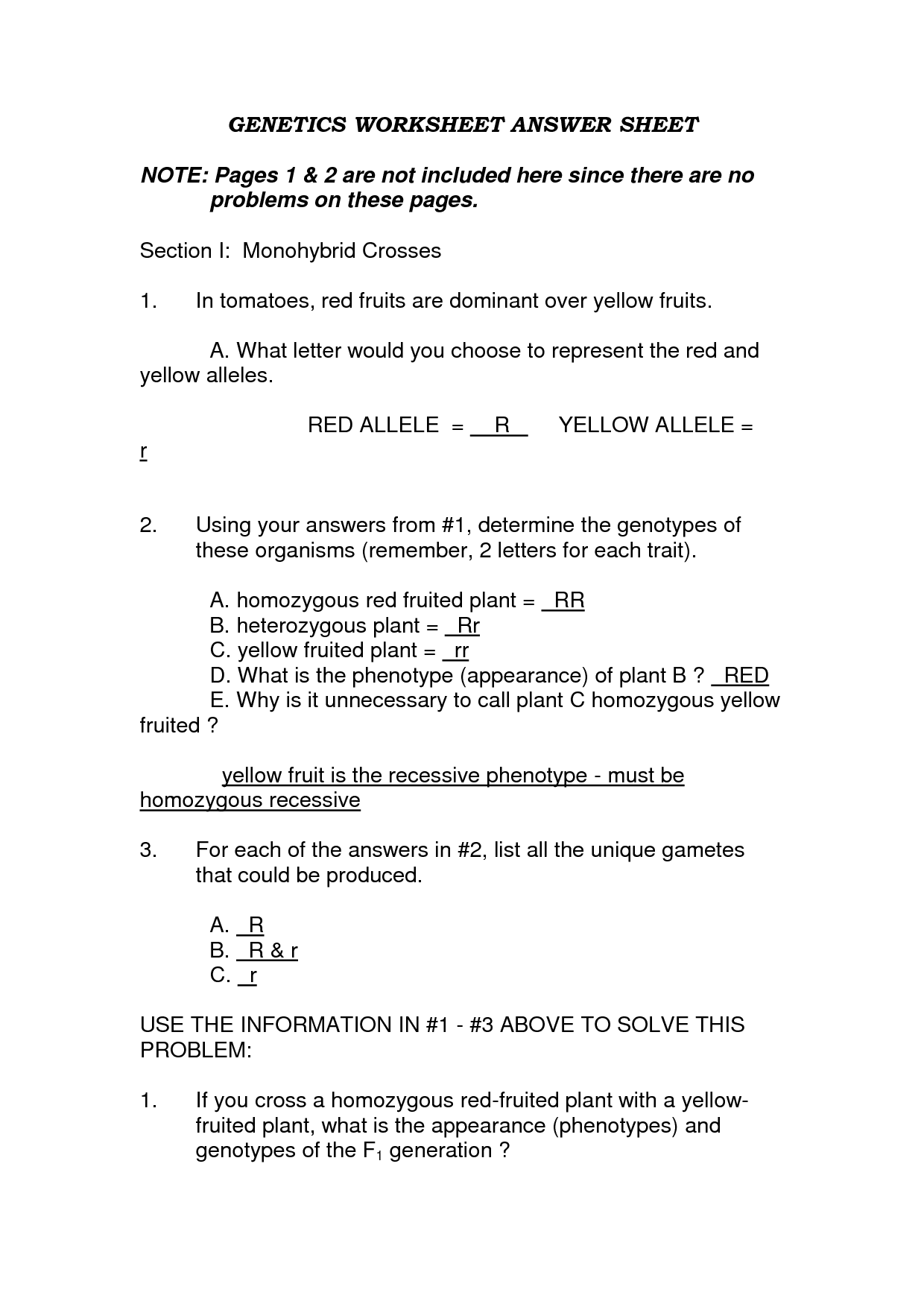 Monohybrid Problems Worksheet Answers And Blood Type And Inheritance Worksheet
