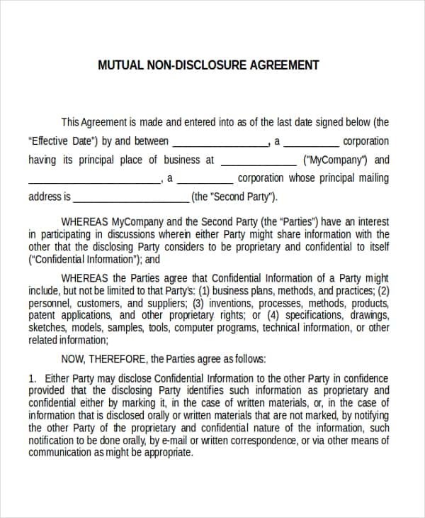Non Disclosure Agreement Template Uk And Non Disclosure Agreement Template For Software Development