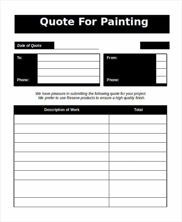 Paint Estimate Template Free And Painting Estimate Template Pdf