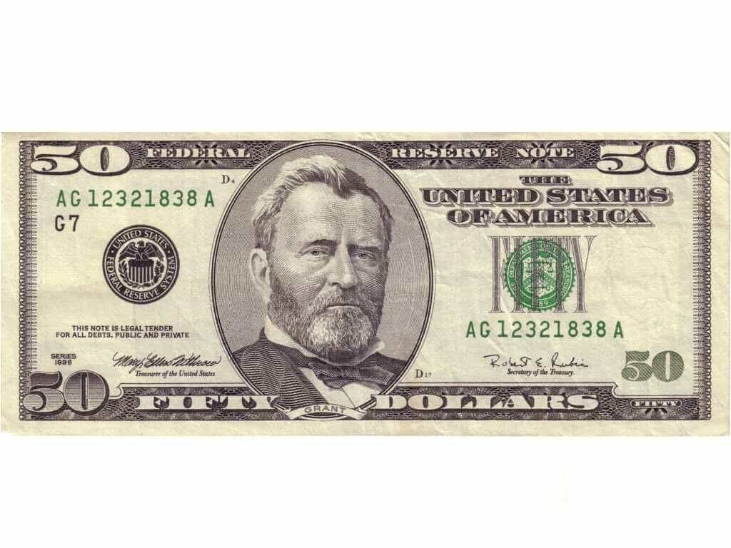 Printable 50 Dollar Bill Template And Pretend Money Template