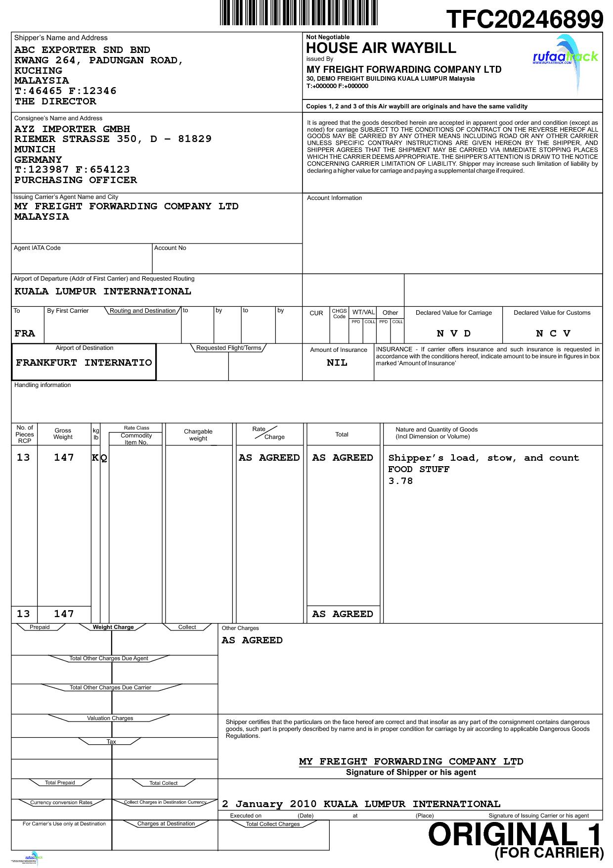 Ups Air Waybill Template And Waybill Template Excel