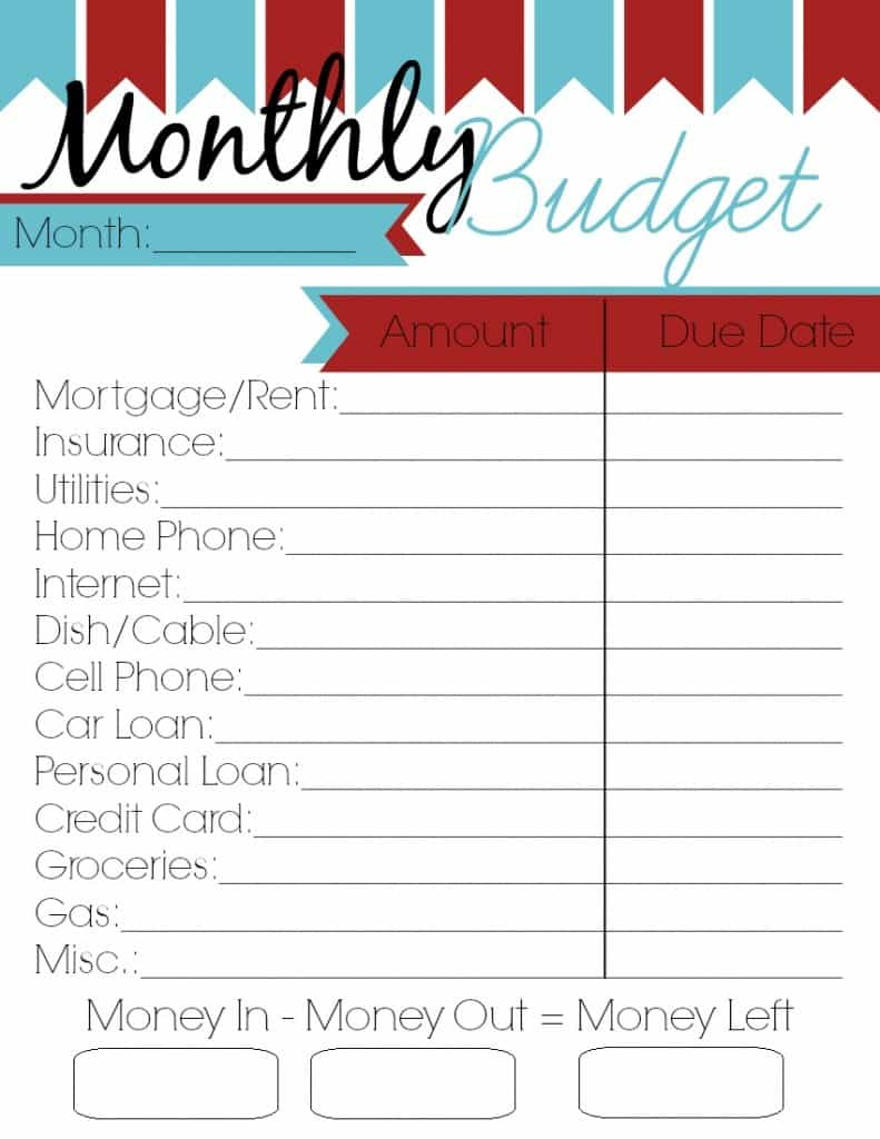 Family budget template printable and printable expense tracker template
