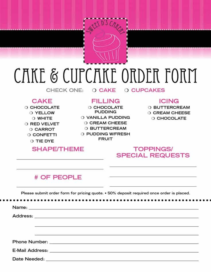 Invoice template for bakery and cupcake invoice template