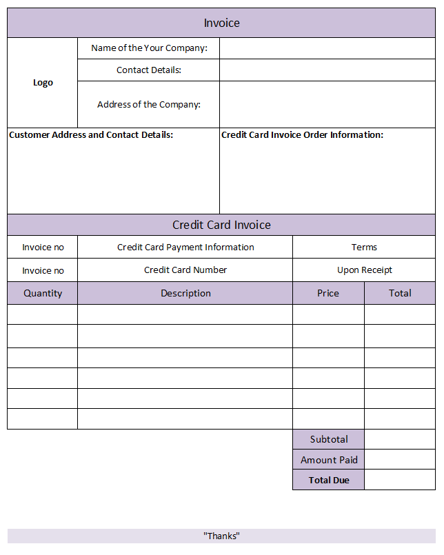 Sample invoice with credit card payment option and credit card processing form template