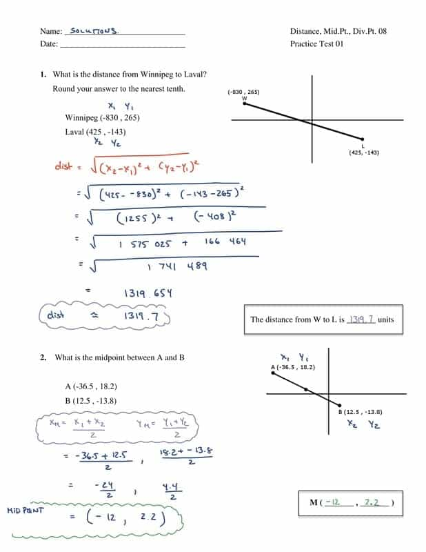 Analytic Geometry Worksheets With Answers Grade 10 And Grade 6 Geometry Test