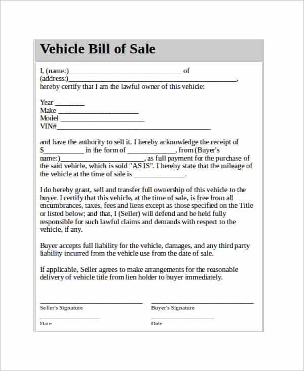 Auto Bill Of Sale Ga Template And Auto Bill Of Sale Form Colorado