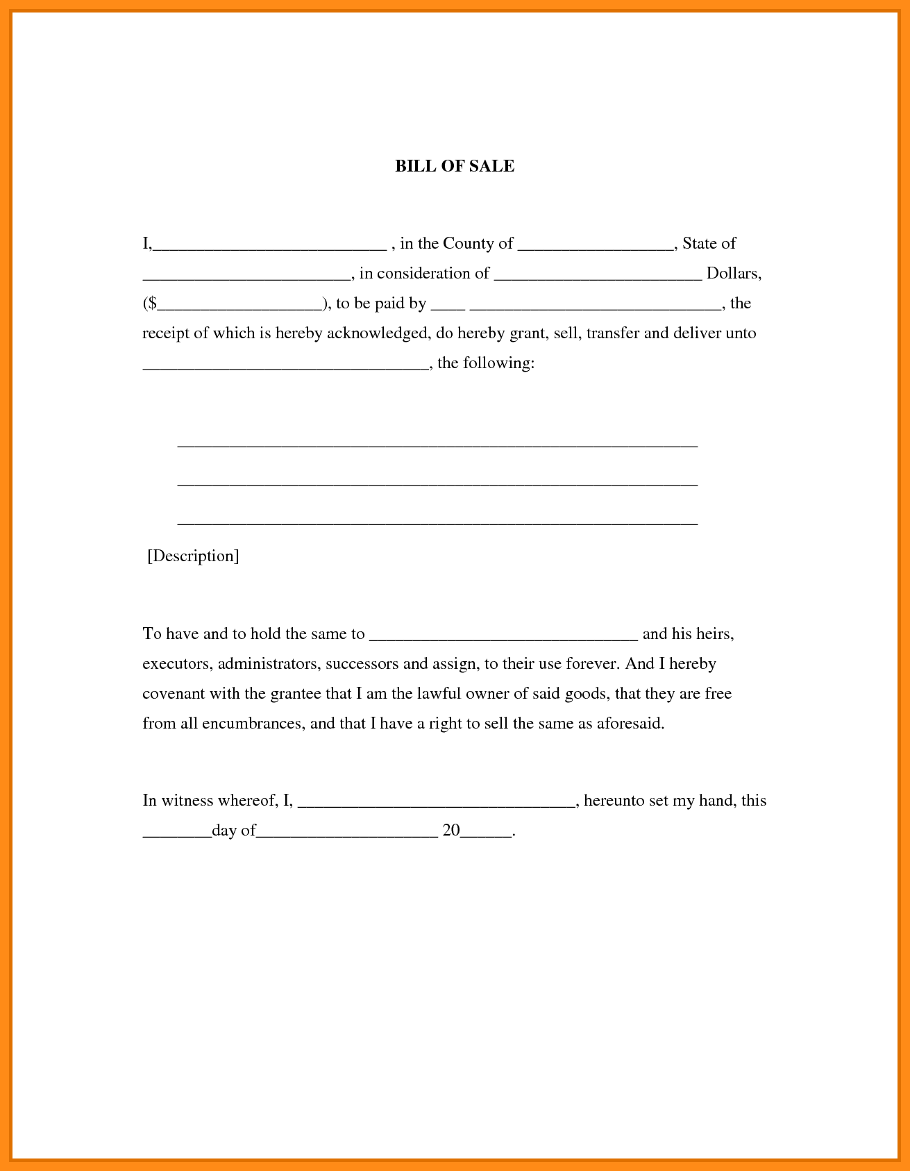 Auto Bill Of Sale Template Rhode Island And Bill Of Sales Template Free