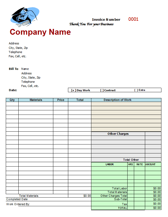 Auto repair invoice sample and sample auto repair invoice form
