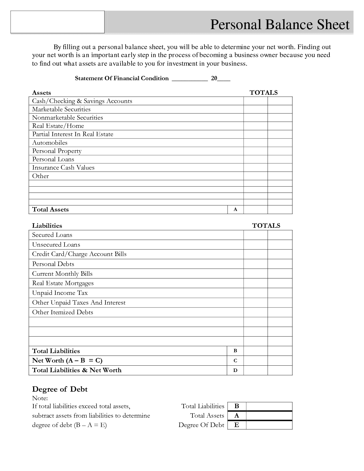 Balance Sheet Template For Small Business And Personal Balance Sheet Template Word
