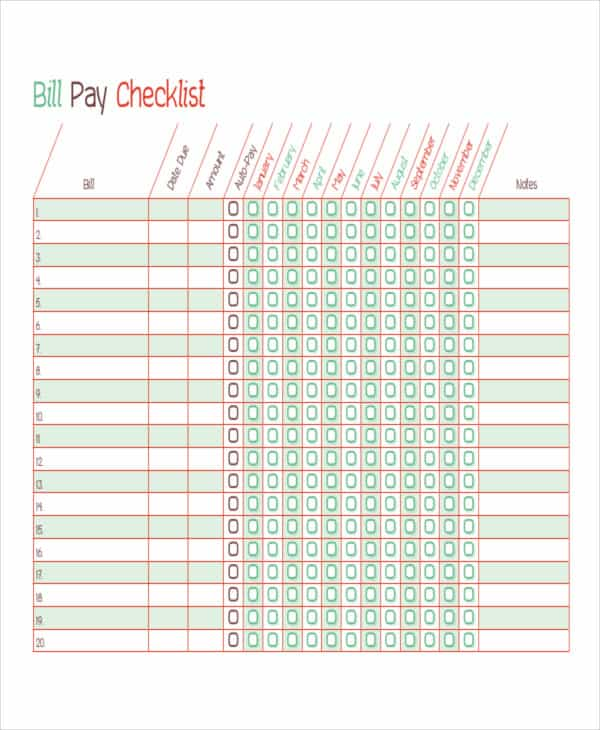 Bill check off list template and bill paying template