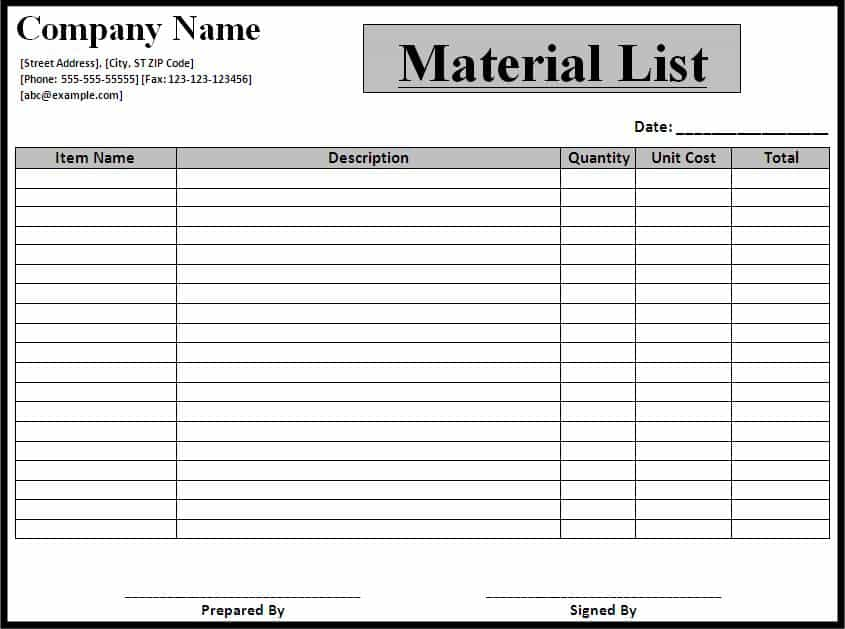 Bill Of Materials Template Pdf And Indented Bill Of Materials Excel Template