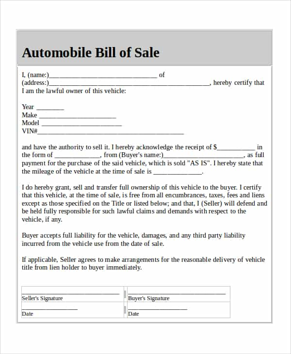 Bill of sale example for mobile home and bill of sale illinois sample
