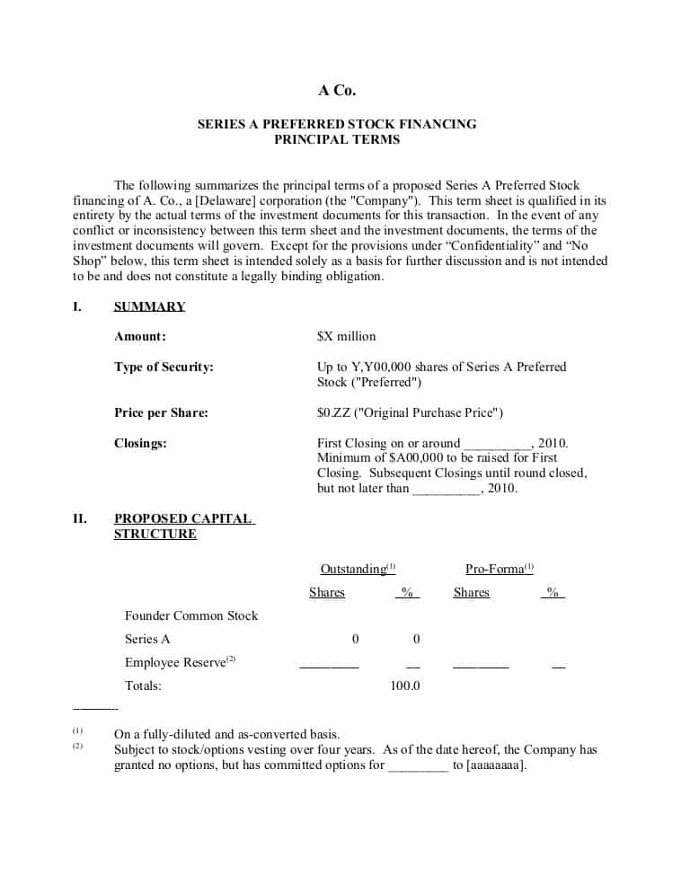 Business Partnership Term Sheet Template And Private Equity Fund Term Sheet