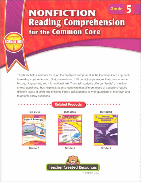 Common Core Reading Comprehension Worksheets For 4Th Grade And Comprehension For Grade 4 With Questions