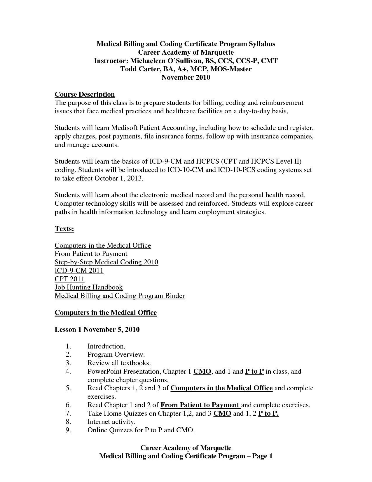 Example of a medical billing and coding resume and example of medical billing and coding test