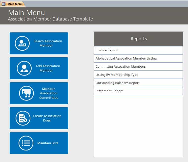 Excel database template free download and free excel membership database templates