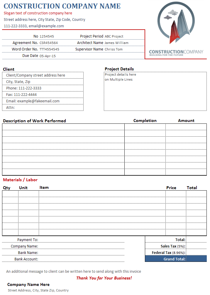 Excel Quotation Template Spreadsheets For Small Business And Free Construction Invoice Template Excel