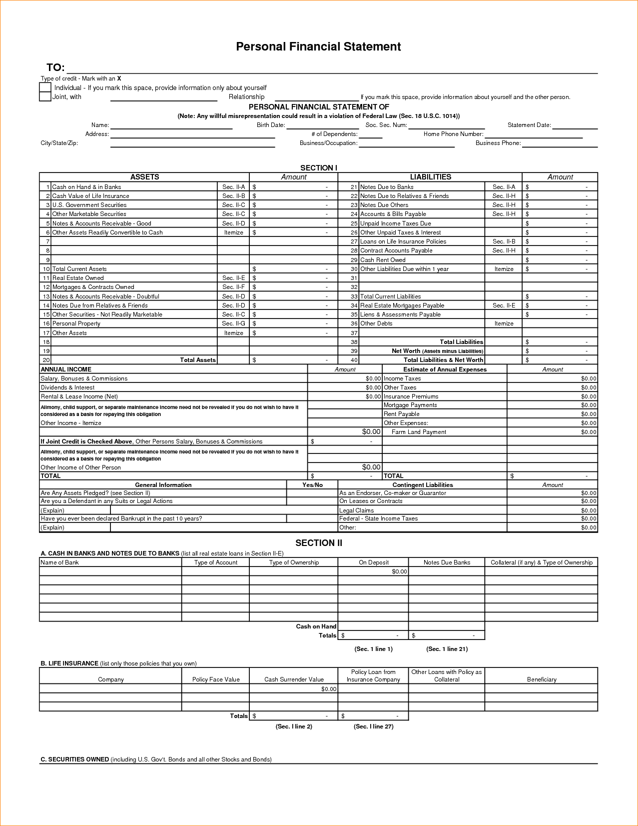 Forms For Personal Financial Statements And Template Of Personal Financial Statement