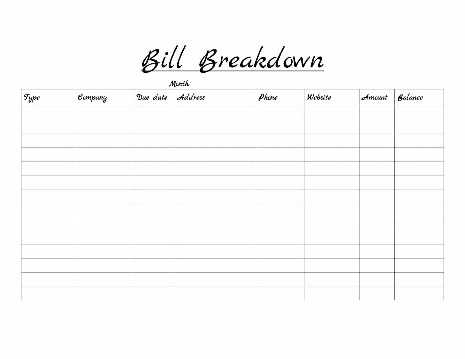 Free bill list template and bills list printable