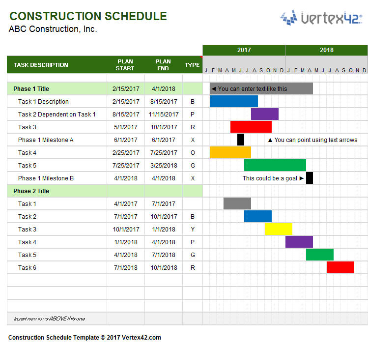 Free Construction Schedule Template Excel And Construction Schedule Using Excel Template Free Download