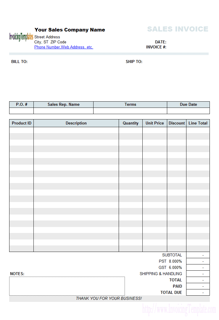 Free Online Invoices Templates And Blank Invoice Template