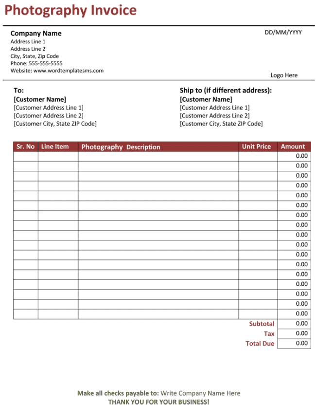 Free sample invoice template excel and free sample of sales invoice