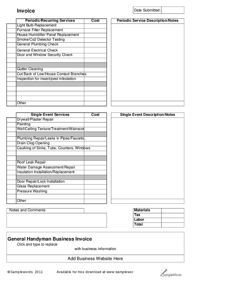 Handyman Invoice Template Uk And Home Repair Invoice