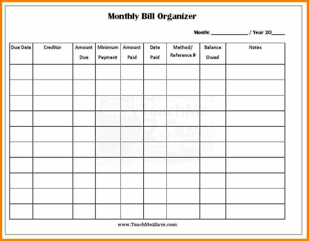 Monthly bill list template and free bill payment checklist template