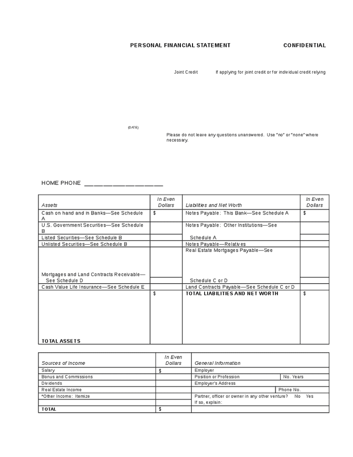 Personal Financial Statement Template In Excel And Template For Personal Financial Statement Excel