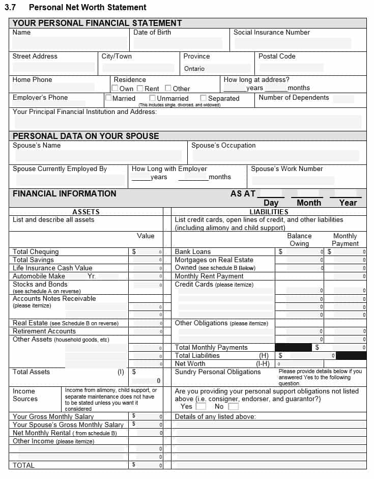 Personal Financial Statement Template Pdf And Sample Engagement Letter For Personal Financial Statements